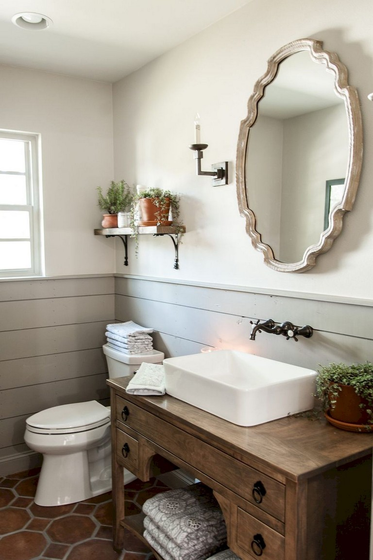 77+ Easy and Modern Farmhouse Bathroom Decor Ideas